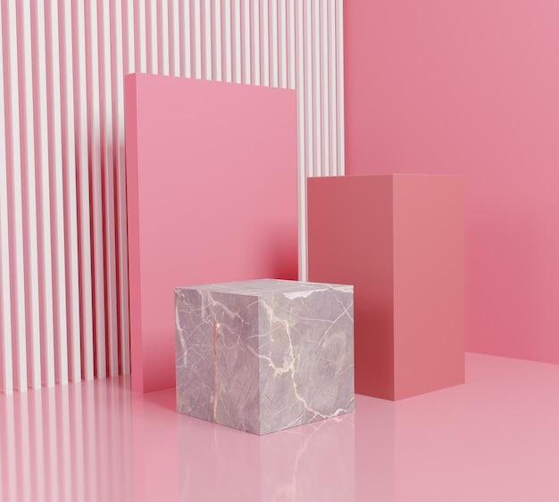 Forma abstracta podio de color rosa con caja de mármol.