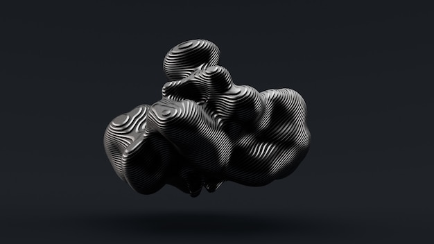 Forma abstracta sobre un fondo negro. ilustración 3d, renderizado 3d.