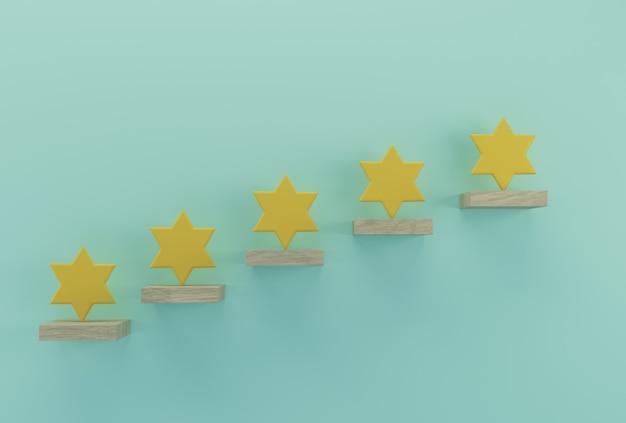 Forma amarilla de cinco estrellas en palos de madera