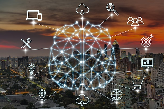 Forma de cerebro poligonal de una inteligencia artificial con varios iconos de ciudad inteligente