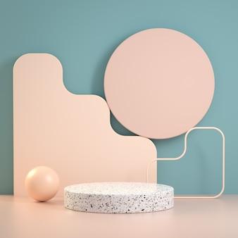 Forma de composición de geometría de etapa mínima moderna sobre fondo azul y beige abstracto 3d render