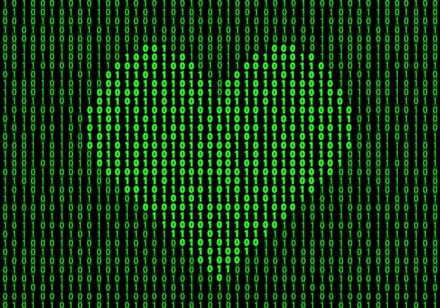 Forma de corazón hecha de código binario. antecedentes de la ilustración del concepto de amor de internet