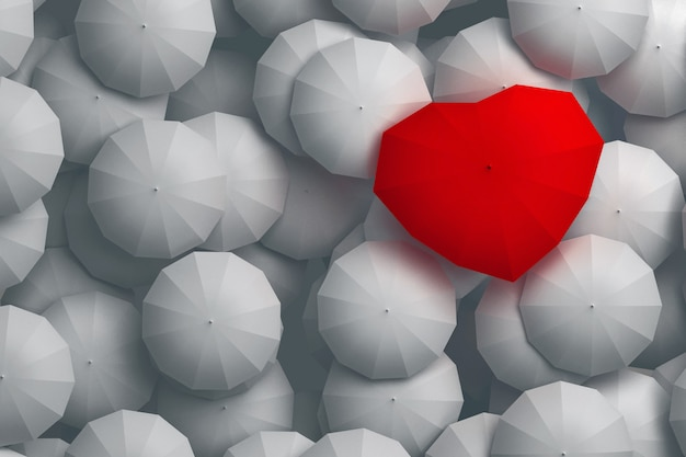 Forma de corazón paraguas rojo que se eleva sobre otros paraguas. 3d ilustración