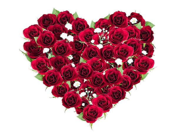 En forma de corazón de ramo de rosas rojas, endecha plana, vista superior