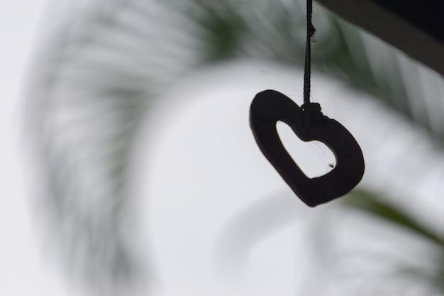 Forma del corazón de la silueta en el fondo de la naturaleza del cielo.