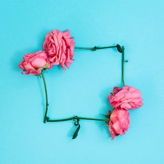 Forma cuadrada hecha de rosas rosadas sobre fondo turquesa