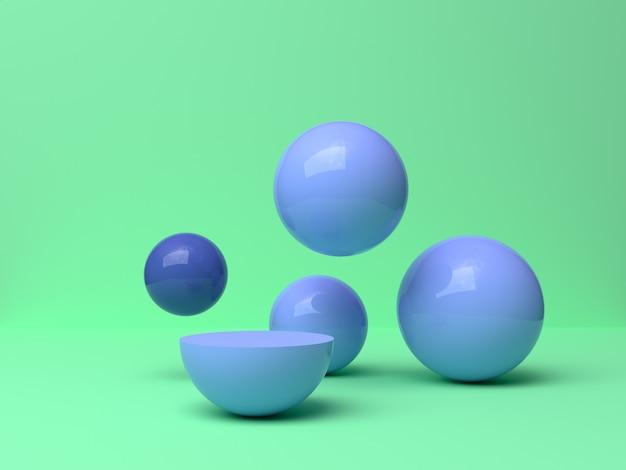 Forma geométrica azul caída abstracta mínima escena verde 3d de representación