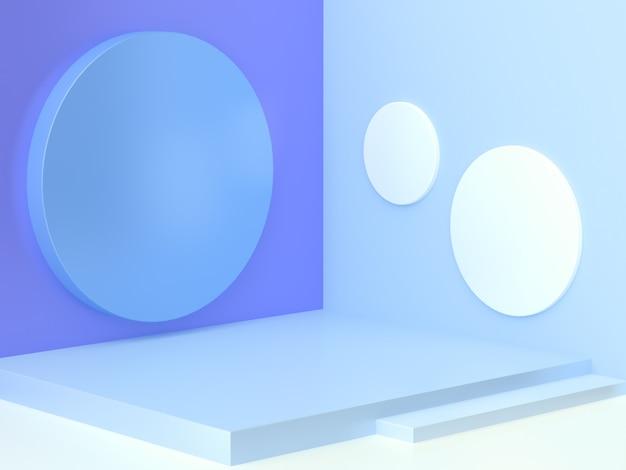 Forma geométrica azul pared esquina piso blanco abstracto escena mínima cilindro escalera podio en blanco