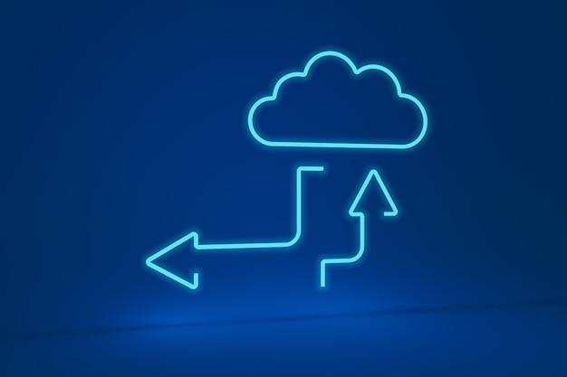 Forma de nube de neón con flechas hacia arriba y hacia abajo