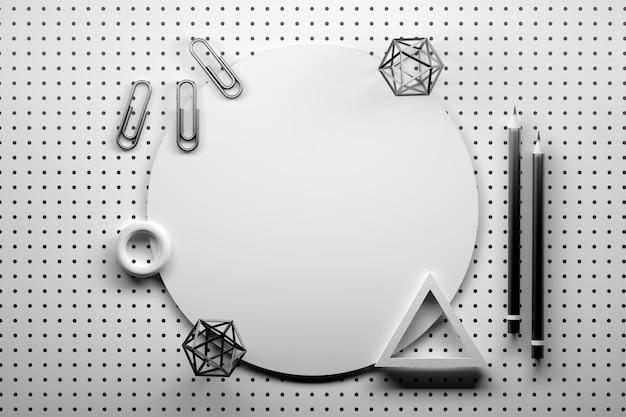 Forma redonda y oficina con formas geométricas