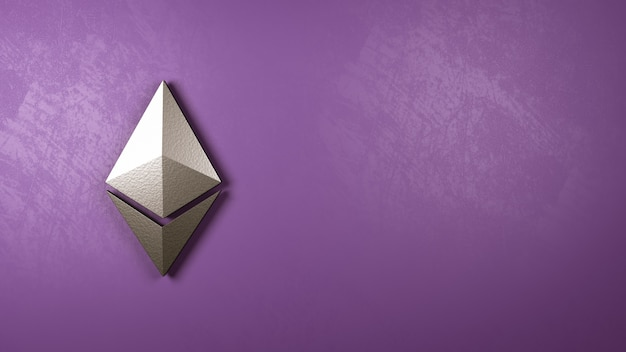 Forma de símbolo de ethereum contra la pared
