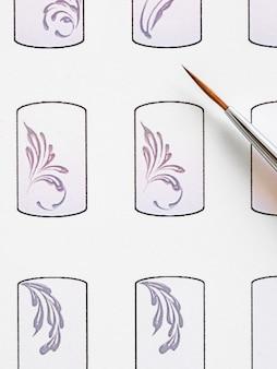 Formación en monogramas de pintura para manicura. tarjetas de entrenamiento para manicure