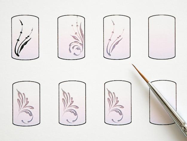 Formación en monogramas de pintura para manicura. tarjetas de entrenamiento