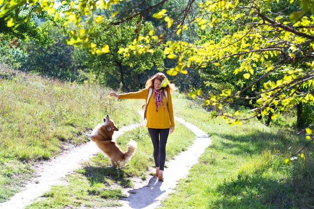 Formación - niña y perro corgi caminando en el parque