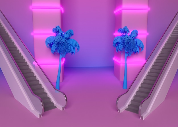 Formas 3d retro en estilo vaporwave