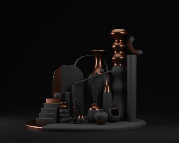 Formas abstractas y composición colorida de los floreros en hormigón con cobre. ilustración de render 3d