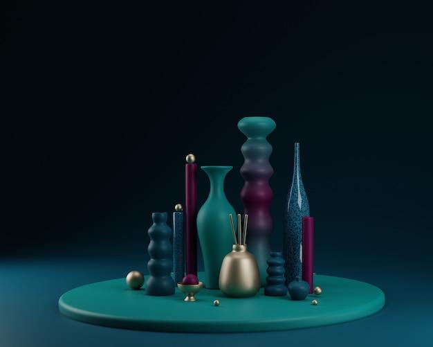Formas abstractas y composición colorida de los floreros. ilustración 3d