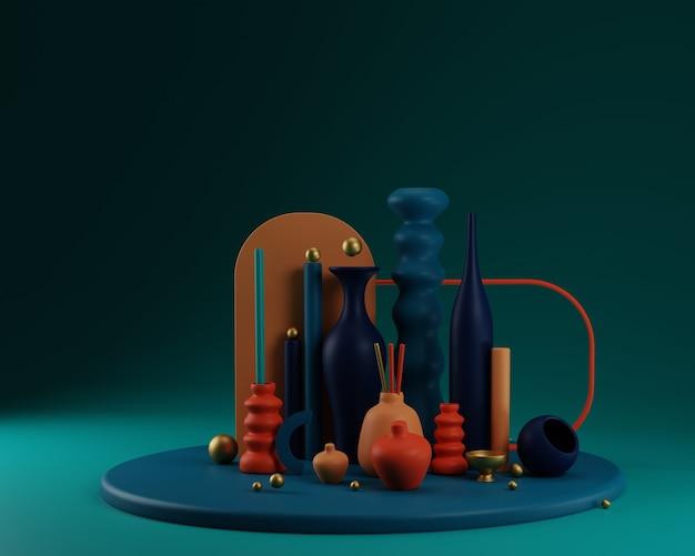 Formas abstractas y composición colorida de jarrones en terracota y azul marino con oro. ilustración de render 3d