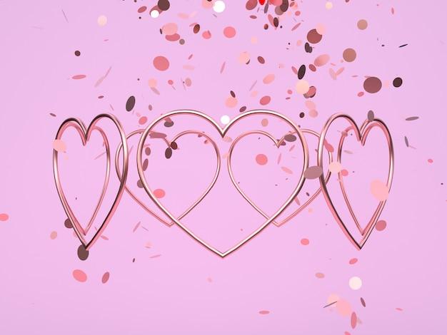 Formas de corazón sobre fondo rosa