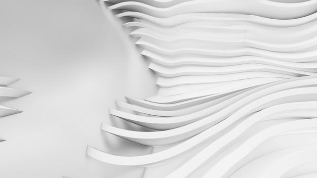 Formas curvas abstractas. fondo circular blanco. fondo abstracto. ilustración 3d