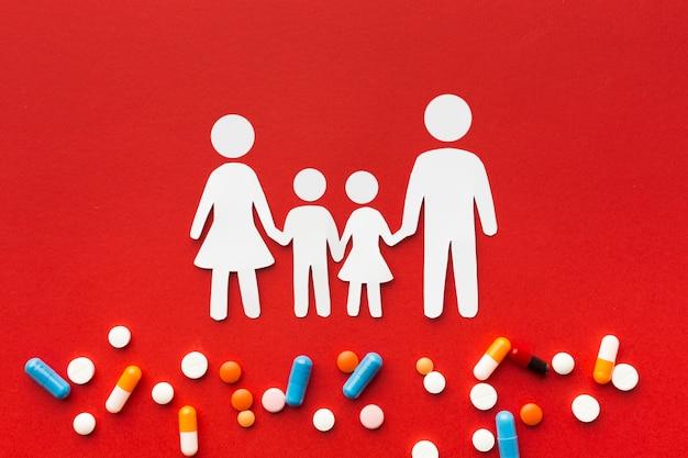 Formas familiares de cartón y píldoras médicas.