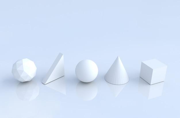 Formas geométricas blancas como cono, cubo, esfera, triángulo, polígono.