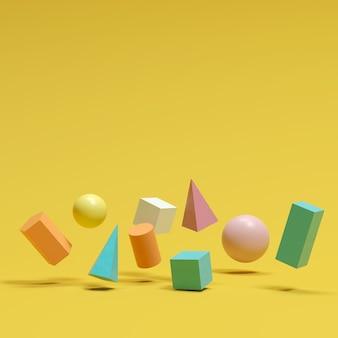 Las formas geométricas coloridas fijaron la flotación en fondo amarillo. idea de concepto minimalista