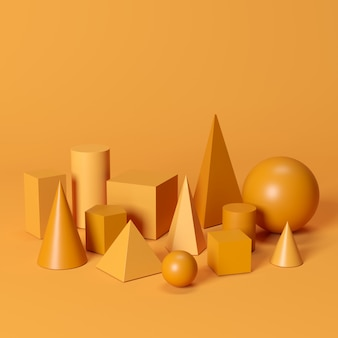Las formas geométricas monótonas anaranjadas fijaron en fondo anaranjado. idea de concepto minimalista