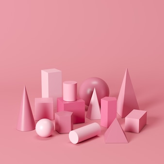 Las formas geométricas monótonas rosadas fijaron en fondo rosado. idea de concepto minimalista