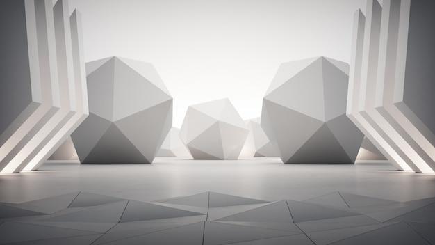 Formas geométricas sobre suelo de hormigón gris.