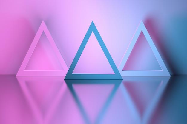 Formas triangulares en una habitación sobre la superficie reflectante del espejo