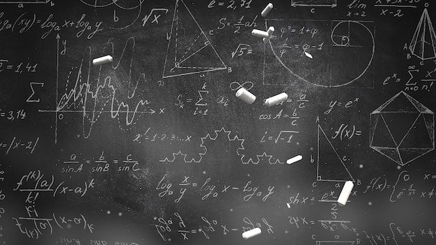 Fórmula matemática de primer plano y elementos en la pizarra, antecedentes escolares. ilustración 3d elegante y de lujo del tema de la educación