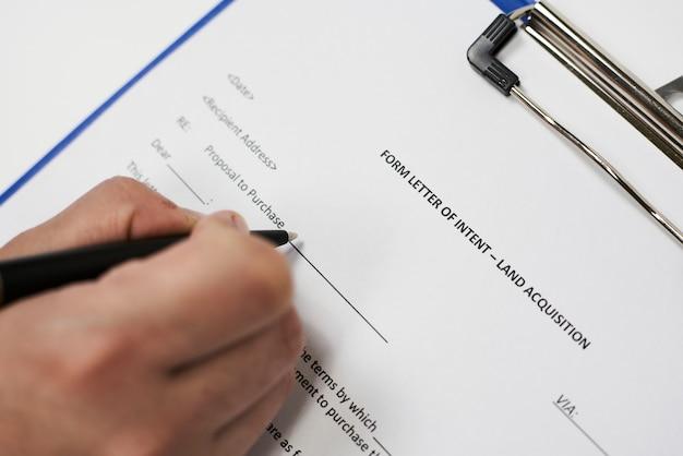 Formulario de carta de intenciones de adquisición de tierras