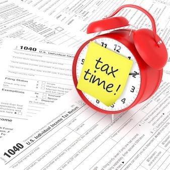 Formulario de impuestos y reloj despertador rojo. representación 3d