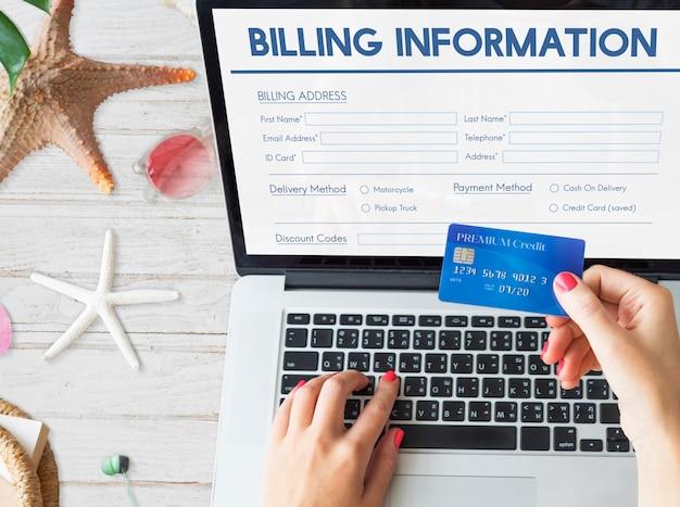 Formulario de información de facturación factura concepto gráfico