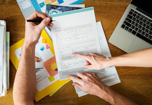 Formulario de solicitud de llenado de documentos documentos