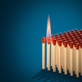 Fósforo encendido listo para encender fuego en otros fósforos. render 3d