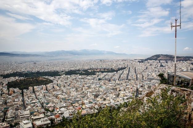 Foto aérea de vista aérea de la icónica ciudad de atenas, grecia