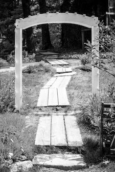 Foto en blanco y negro de un camino de madera a través de un pequeño arco en un bosque