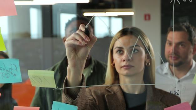 Foto de compañeros de trabajo multiétnicos parados juntos en la pared de vidrio en la oficina moderna dibujando en él con rotulador y lluvia de ideas