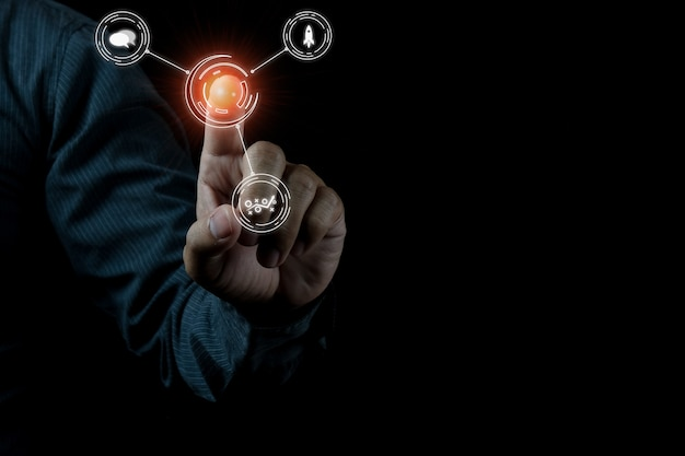 Foto del concepto de seo marketing digital con idea creativa de infografía