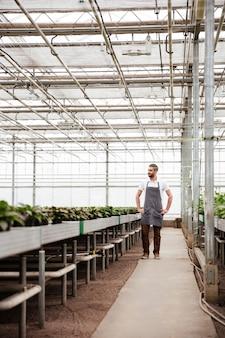 Foto de cuerpo entero de hombre trabajador de pie en invernadero