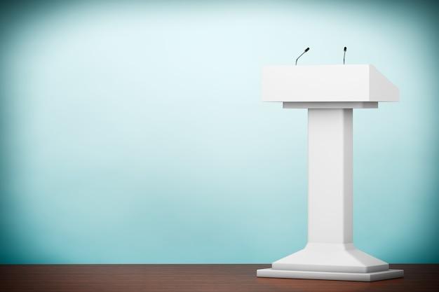 Foto de estilo antiguo. tribuna del podio blanco stand con micrófonos en el suelo