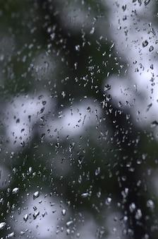 Una foto de la lluvia cae sobre el cristal de la ventana con una vista borrosa de los árboles verdes en flor.