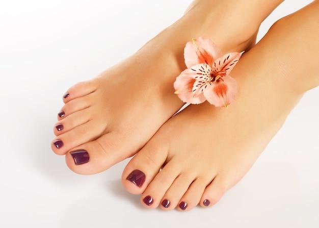 Foto en primer plano de pies femeninos con hermosa pedicura después del procedimiento de spa en el espacio en blanco