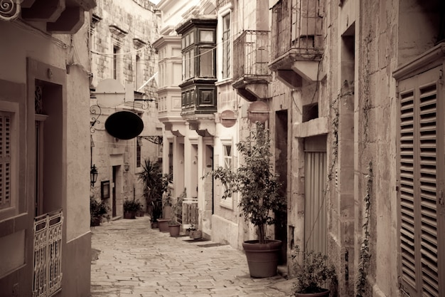 Foto retro de ctreet en la vieja ciudad europea