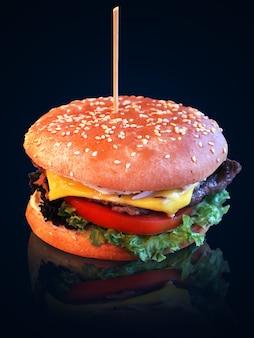 Foto de sabrosa hamburguesa con carne, queso y verduras.