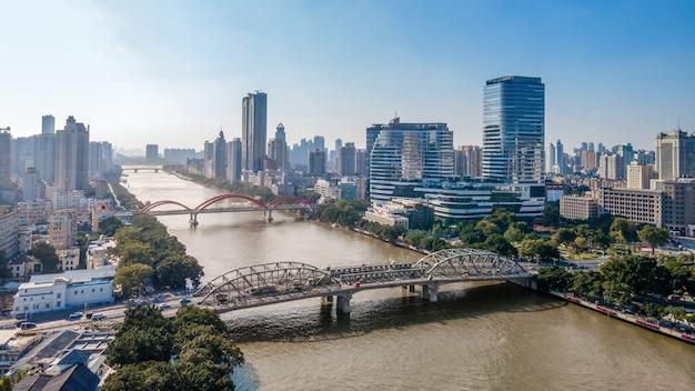 Fotografía aérea china ciudad moderna arquitectura paisaje horizonte