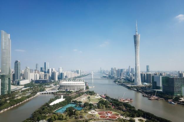 Fotografía aérea china guangzhou ciudad moderna arquitectura paisaje horizonte
