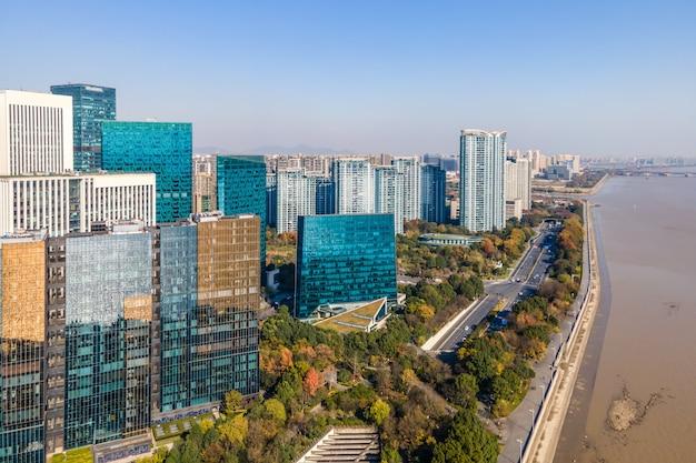 Fotografía aérea del horizonte del paisaje arquitectónico urbano moderno en hangzhou, china